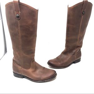 Frye Brown Melissa tall riding pull on boots